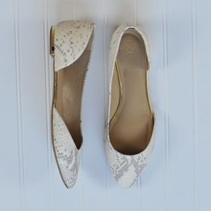 Ann Taylor Leather D'orsay Snakeskin Flats Size 9